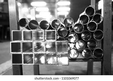 abstract of square and round metal tube for background used