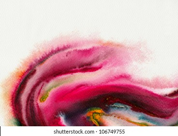 Abstract stain watercolors ; colors wet on wet art paper ; hot tone version