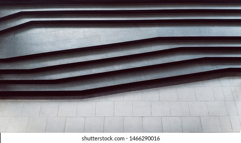 Abstract stairs in black and white, abstract steps minimal style, stairs in the city, granite stairs, angle wIde stone stairway, steps, monotone photo, diagonal line.