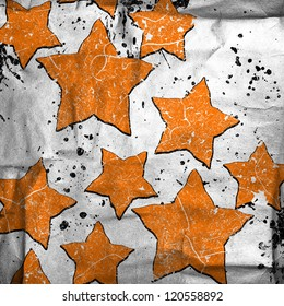 abstract stars on grunge background with stains