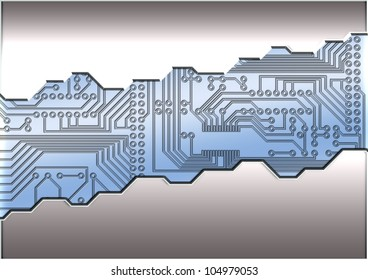Abstract steel and Digital Circuit Board Background
