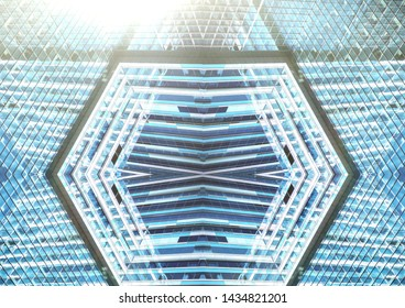 Abstract of steel light blue background of glass high rise building skyscraper commercial modern city of future, Business concept of success industry tech architecture