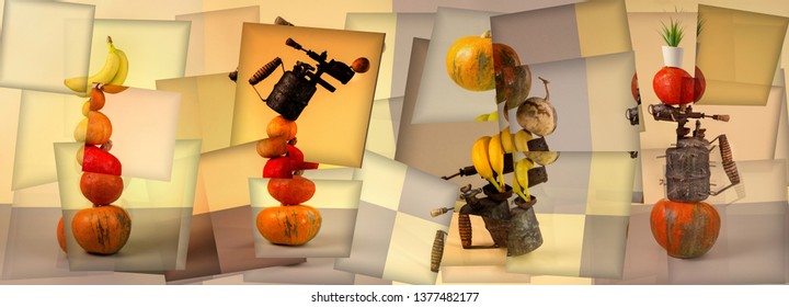 Abstract still life collage with vegetables, fruits and blowtorch