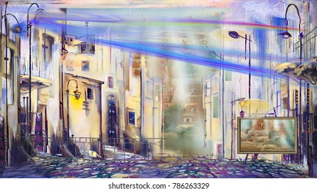 Abstract street in resort town