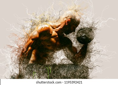 Abstract Strong bodybuilder man pumping up muscles. Bodybuilding Genetics concept background.