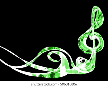 abstract style smoke green line ornament background, frame music sign abstract