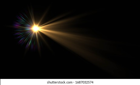 Abstract stylish light effect on a black background. Gold glowing neon line. Golden luminous dust and glares. Flash Light. luminous trail.