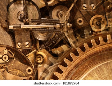 Abstract stylized collage of a mechanical device