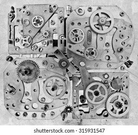 Abstract stylized collage of a mechanical device. Industrial concept.