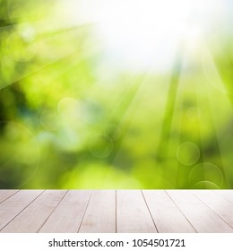 Abstract Summer Background with White Empty Wooden Table and Bokeh Light