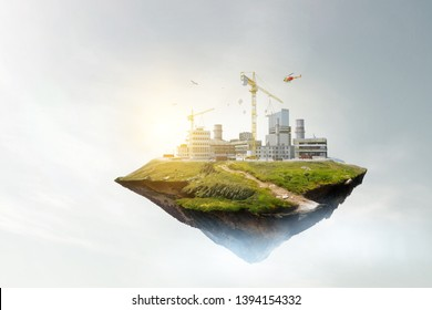 Abstract summer mountain and industrial building view