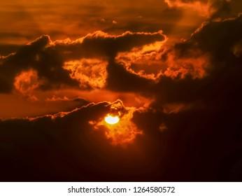 abstract sun beam line light shining through the clouds, Sunbeam through the clouds haze on Beautiful sky.