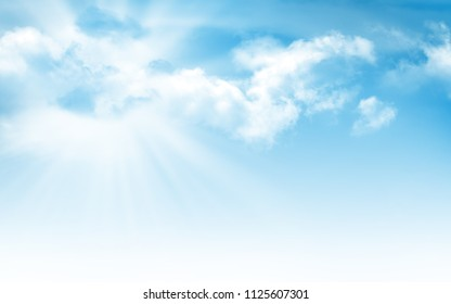 Abstract sunny summer blue sky with sun and clouds