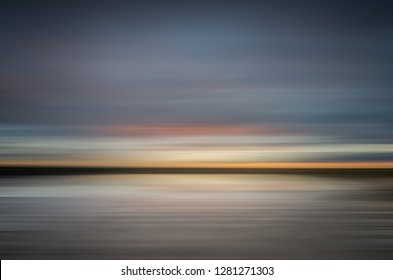 abstract sunrise over the Camargue wetlands in Provence France