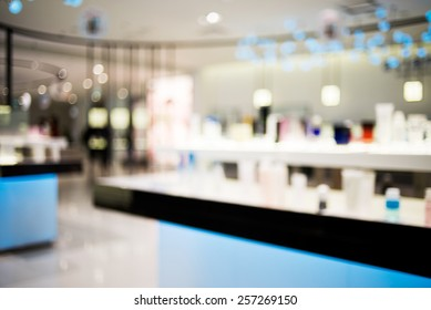 abstract super blurry cosmetic shop in shopping store with bokeh. Modern working space blur background