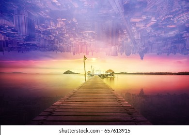 abstract surreal landscape and cityscape sunset - can use to display or montage on product