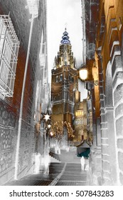 abstract surreal landscape photography of the Cathedral of Toledo, Castilla La Mancha, Spain,
