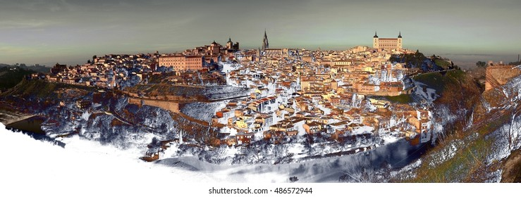 abstract surreal landscape photography of the city of Toledo, Castilla La Mancha, Spain, abstract panoramic of the city of Toledo, expressionism, Christmas, snow fall, snow,