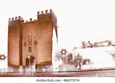 abstract surreal landscape photography of the Principal door of the bridge Alcántara of Toledo, Castilla La Mancha, Spain, Christmas, snow fall, snow,