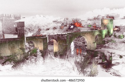 abstract surreal landscape photography of San Martin Bridge in the city of Toledo, Castilla La Mancha, Spain, Christmas, snow fall, snow,
