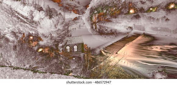 abstract surreal landscape photography watermill on the River Tagus in the city of Toledo, Castilla La Mancha, Spain, Christmas, snow fall, snow,