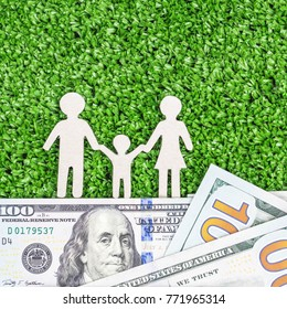 Abstract symbol family against green grass background on foundation of money 100 dollars. concept of solid foundation