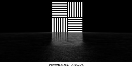 Abstract symbol from glowing stripes. 3D Render