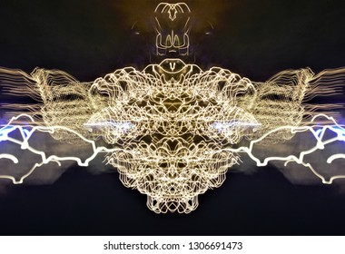 abstract symmetrical photographs, of action light painting, tribute to Jackson Pollock, Abstract photographic expressionism, painting with light, photographic sweeps, night photo, christmas lights,