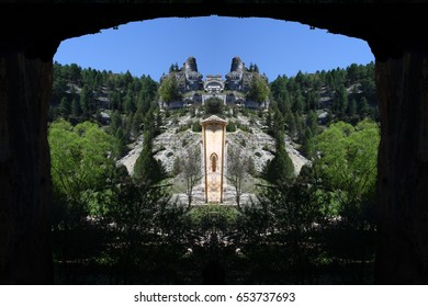 Abstract Symmetrical Photographs of Rocks, Home of vultures, from the cave, Canyon of the Wolves River, Soria, Spain, abstract photography surreal, expressionist, naturalist,