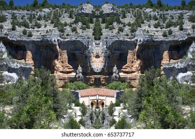 Abstract Symmetrical Photographs of Rocks, Home of vultures, Canyon of the Wolves River, Soria, Spain, abstract photography surreal, expressionist, naturalist,