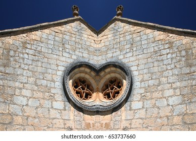 Abstract Symmetrical Photographs of Romanesque Church with Rosette,  Canyon of the Wolves River, Soria, Spain, abstract photography surreal, expressionist, naturalist,