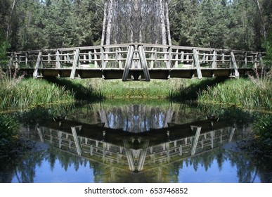 Abstract Symmetrical Photographs of Wooden Bridge over Lagoon