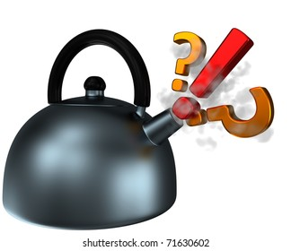 abstract teapot with pling and questions, 3d render isolated on white