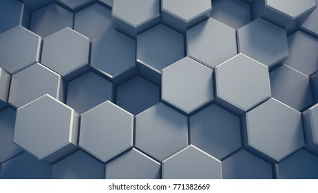Abstract tech honeycomb background. 3D render