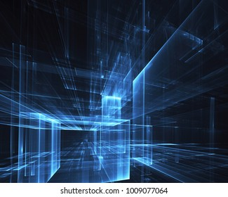 Abstract technological background - the image generated on the computer. Fractal art: a space of glass with light effects. The concept of Hi-tech or virtual reality.