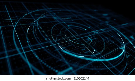 Abstract technological background made of different shapes and texts. Rich details and depth of field effect.
