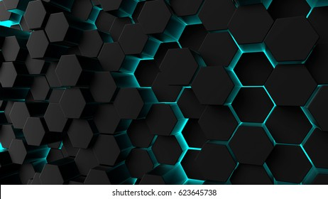 Abstract technological hexagonal background. 3d rendering