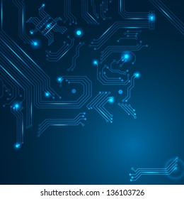 Abstract technology background with circuit board elements.
