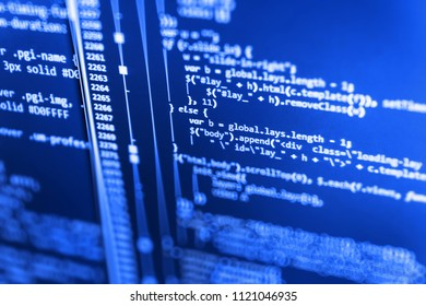 Abstract technology background. Programming code. Search engine
