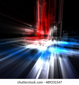 Abstract technology background with translucent rectangles with a blue, red and white light
