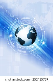 abstract technology blue global business concept background