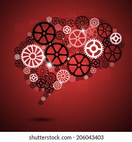 abstract technology business human brain shape gears red background