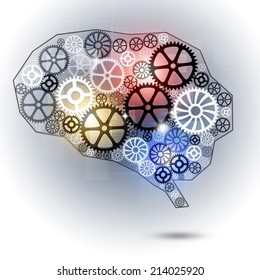 abstract technology business human brain shape gears