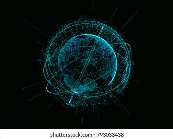 Abstract technology concept. Digital world link network on hi-tech background. 3d illustration