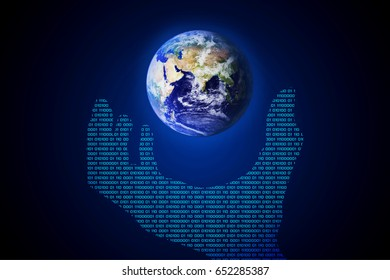 abstract technology concept hand binary and world on hi tech blue background.Elements of this image furnished by NASA