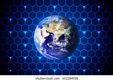 abstract technology concept world on hexagon hi tech blue background.Elements of this image furnished by NASA
