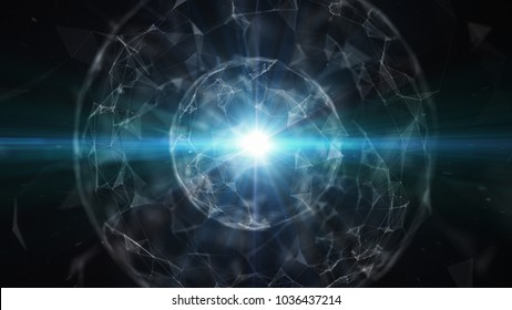 Abstract technology with intersections and particles. Network of lines with sphere shape and lens flare effect. 3D rendering