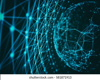 Abstract technology network mesh and destroy sphere cyber geometry orb and polygonal lines and dots. Futuristic Technology, digitally generated image, 3d rendering