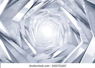 Abstract technology round tunnel. White metal or crystal concstruciton sharp corners with reflections. White light. background for project. 3D rendering illustration