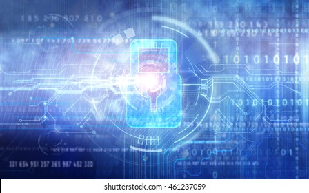 Abstract technology security on global network background, 3D